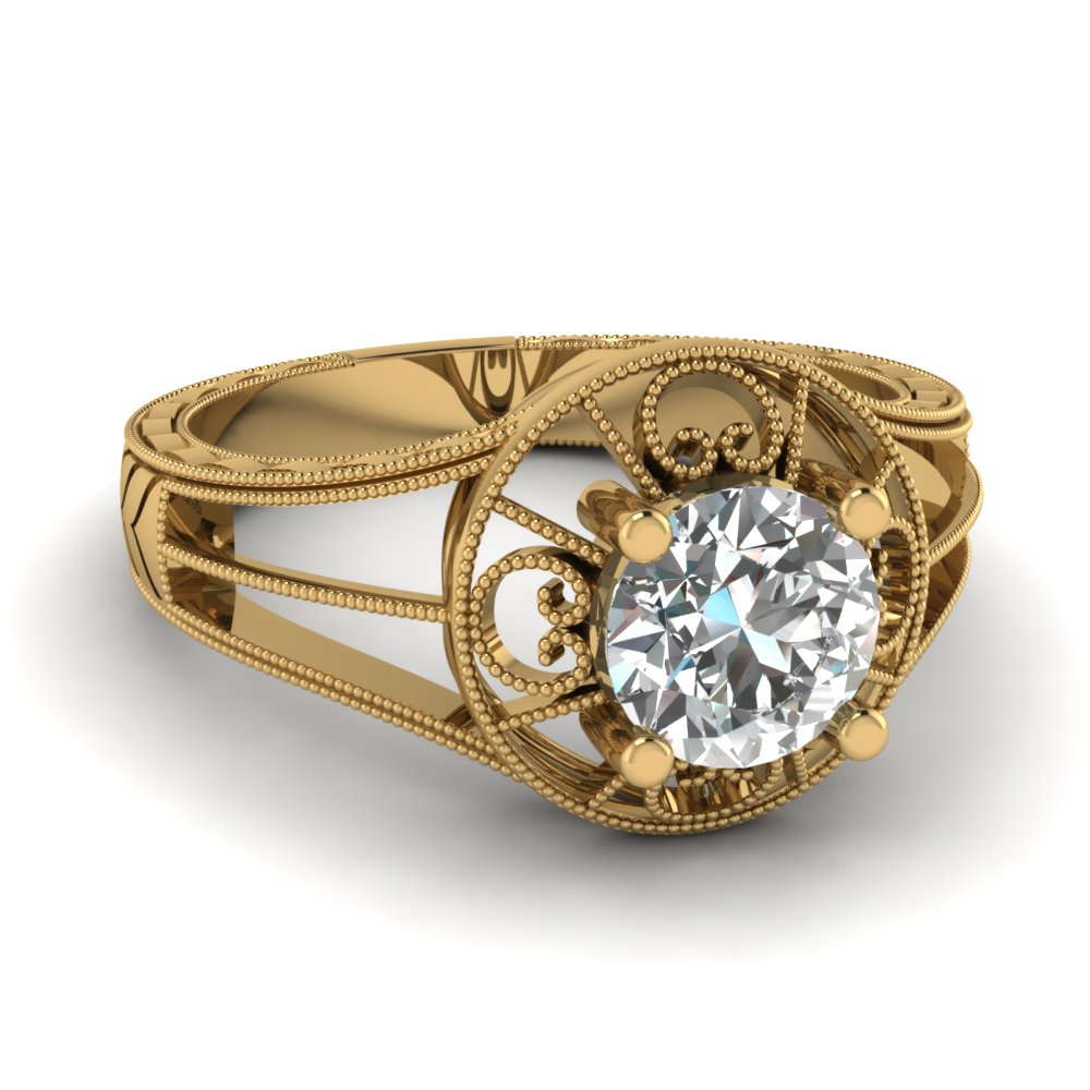 Gold Round Diamond Vintage Ring