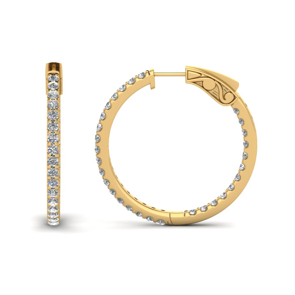1 Ctw. Diamond Hoop Earrings