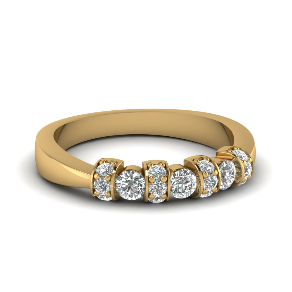Tapered Style Diamond Wedding Band Gold