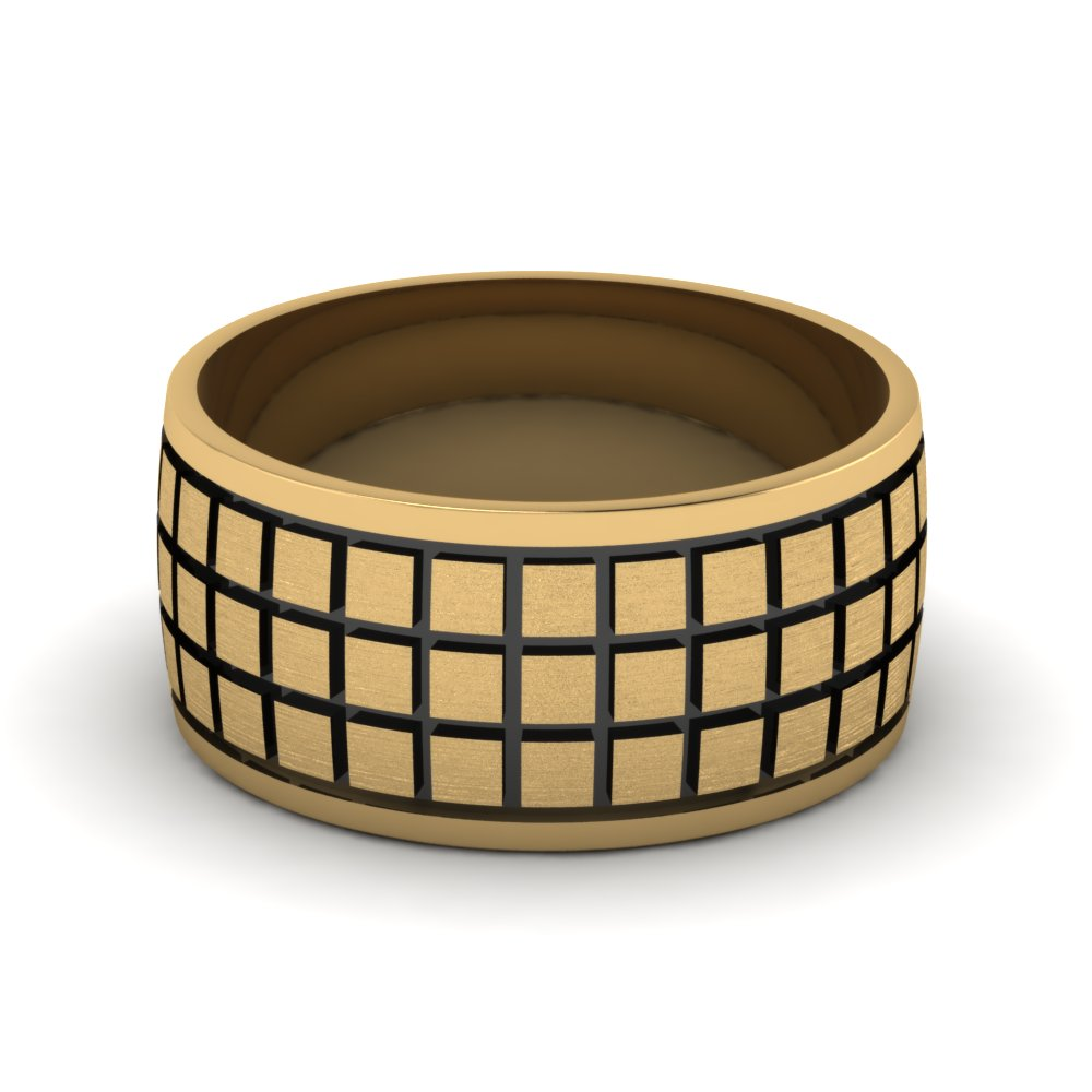 yellow-gold-treble-Block-design-mens-wedding-band-FDM957B-NL-YG