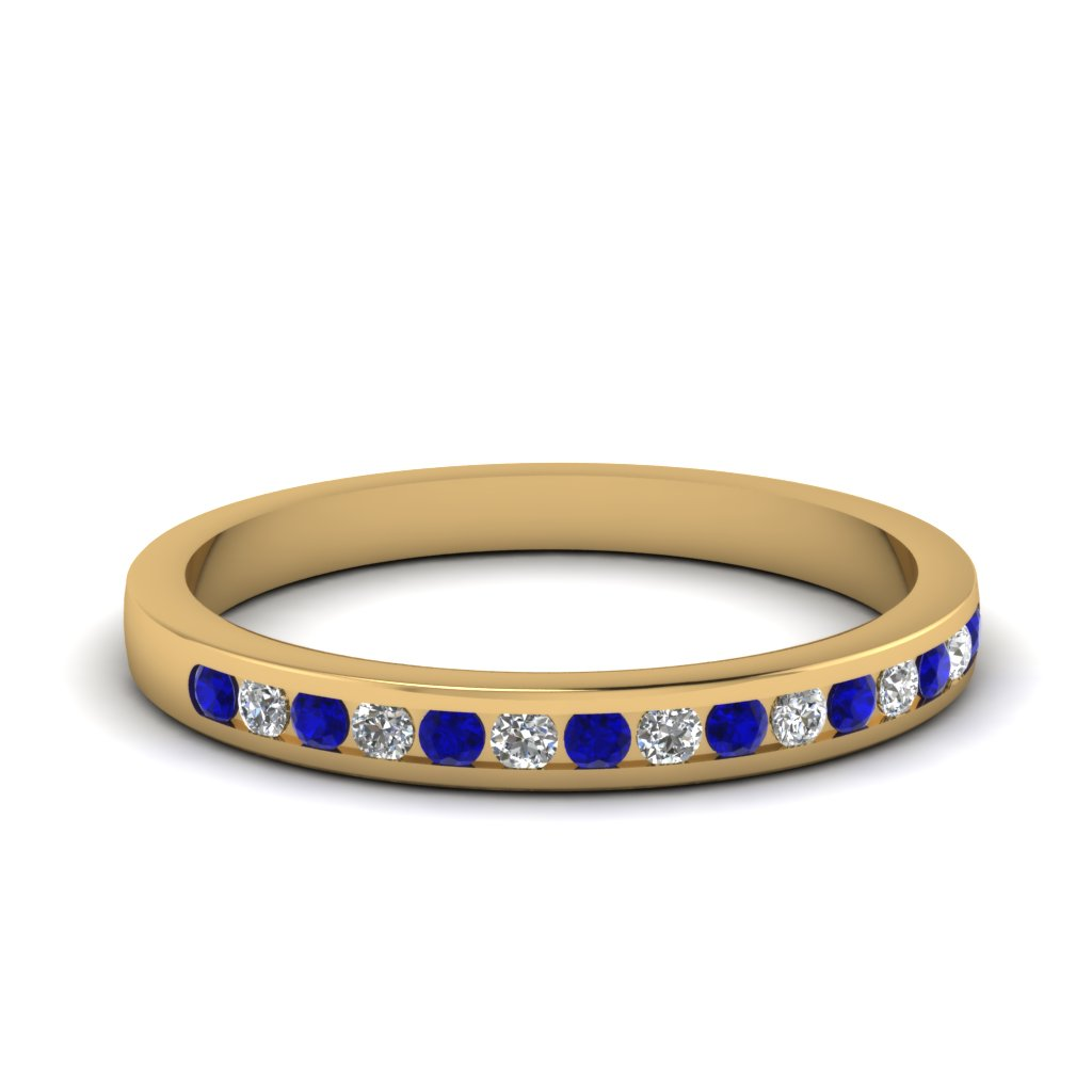 Yellow Gold Wedding Band White Diamond With Blue