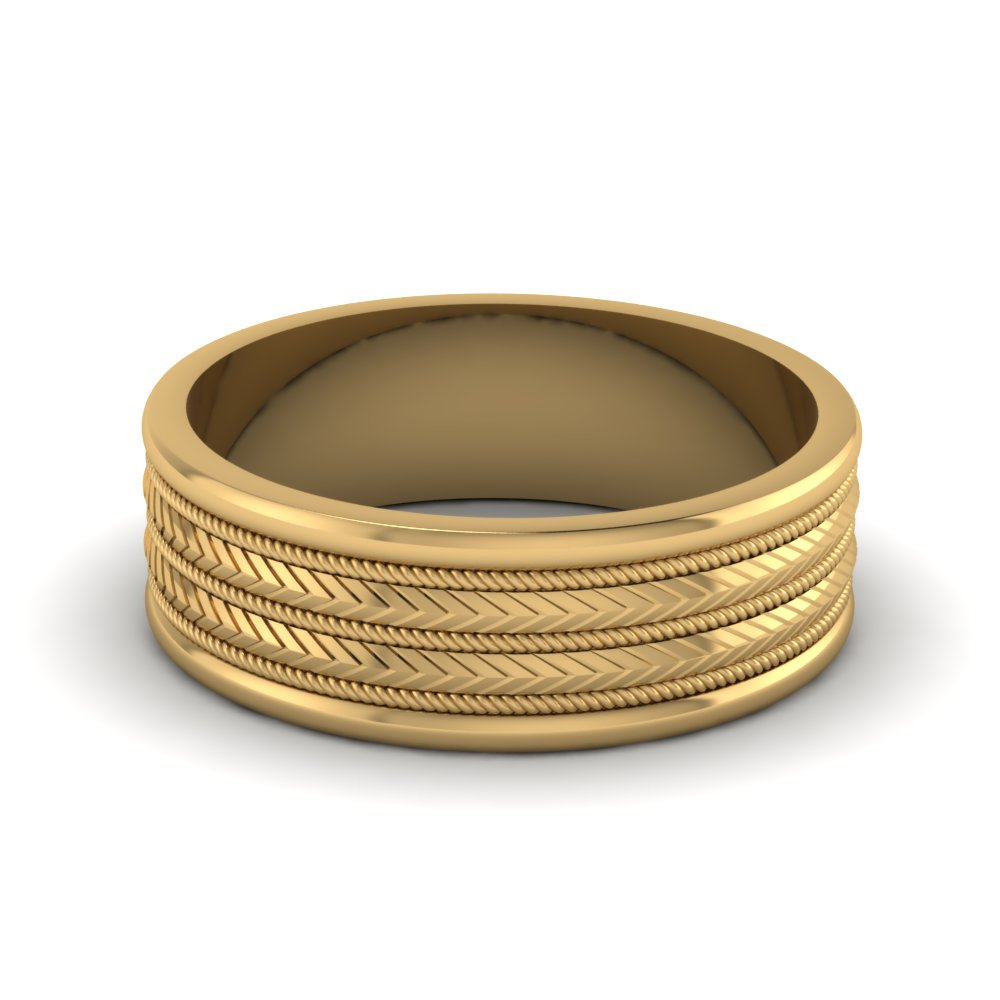 Yellow Gold Engraved Mens Wedding Bands